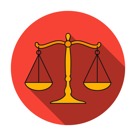 Scales of justice icon in flat style isolated on white background. Crime symbol vector illustration. Illustration