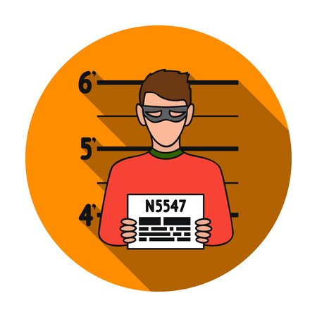 Prisoner's photography icon in flat style isolated on white background. Crime symbol vector illustration.