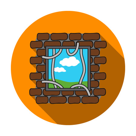 jailbreak: Prison escape icon in flat style isolated on white background. Crime symbol vector illustration.