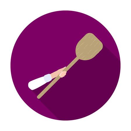 icono de la cáscara de madera en estilo plano aislado en el fondo blanco. Pizza y la ilustración vectorial símbolo pizzería. Ilustración de vector