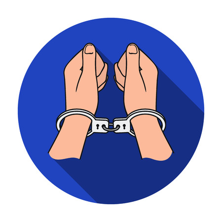 Hands in handcuffs icon in flat style isolated on white background. Crime symbol vector illustration. Illustration