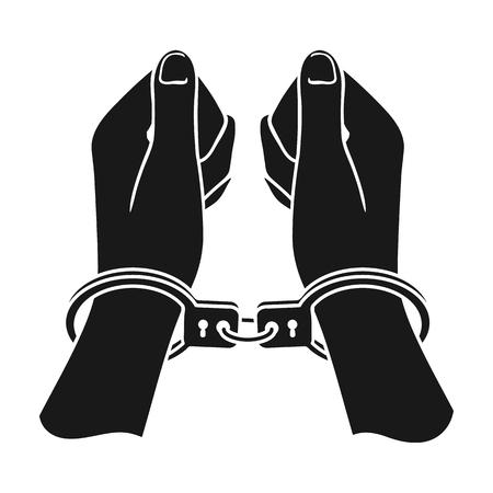 Las manos en las esposas icono de estilo negro sobre fondo blanco. Delincuencia ilustración vectorial símbolo.