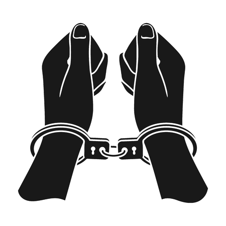 Hands in handcuffs icon in black style isolated on white background. Crime symbol vector illustration.