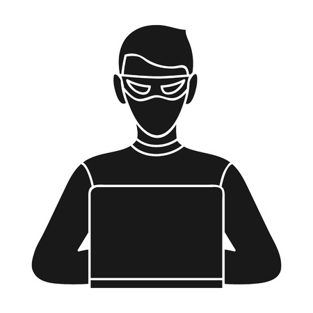 stealing data: Hacker icon in black style isolated on white background. Crime symbol vector illustration. Illustration