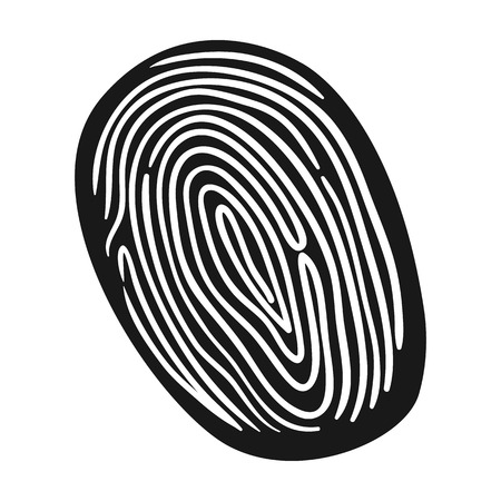 id theft: Fingerprint icon in black style isolated on white background. Crime symbol vector illustration. Illustration
