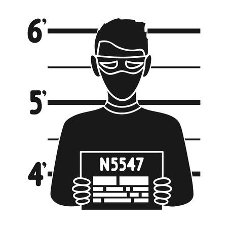 Prisoners photography icon in black style isolated on white background. Crime symbol vector illustration. Illustration