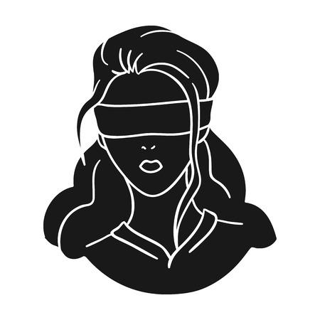Hostage icône dans le style noir isolé sur fond blanc. Crime symbole illustration vectorielle.