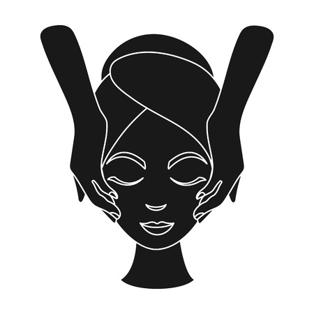 girl  care: Facial massage icon in black style isolated on white background. Skin care symbol vector illustration.