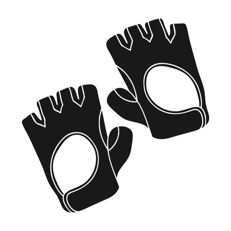 fingerless gloves: Gym gloves icon in black style isolated on white background. Sport and fitness symbol vector illustration.
