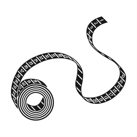 測定テープのアイコンは白い背景に分離された黒スタイルに。スポーツとフィットネスのシンボル ベクトル イラスト。