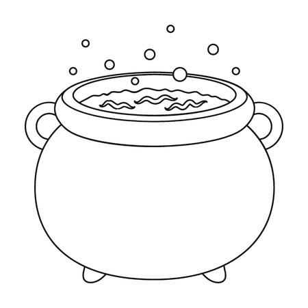 magic cauldron: Witchs cauldron icon in outline style isolated on white background. Black and white magic symbol vector illustration.