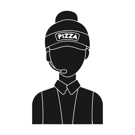 counter service: Saleswoman icon in black style isolated on white background. Pizza and pizzeria symbol vector illustration. Illustration