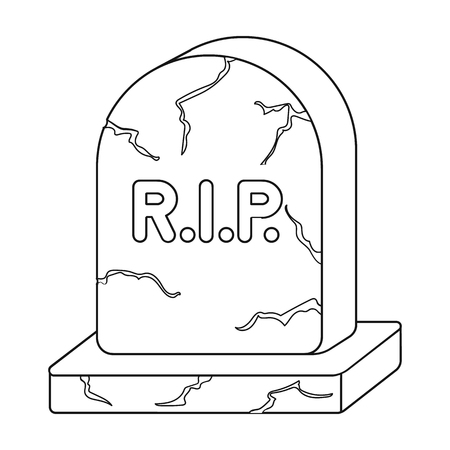 headstone: Headstone icon in outline style isolated on white background. Black and white magic symbol vector illustration.