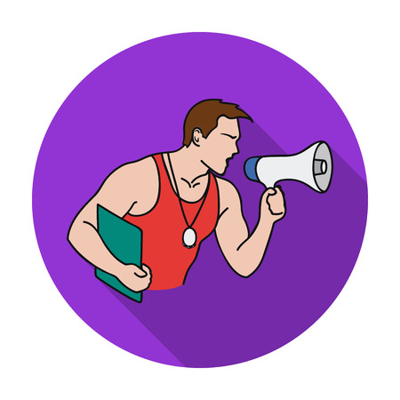 personal trainer: Personal trainer icon in flat style isolated on white background. Sport and fitness symbol vector illustration.