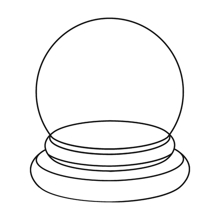 fortuneteller: Crystal ball icon in outline style isolated on white background. Black and white magic symbol vector illustration.