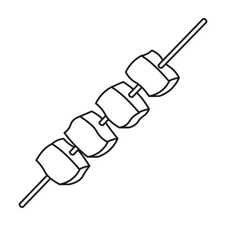 Meat kebab icon in outline style isolated on white background. Camping symbol vector illustration. Vektoros illusztráció
