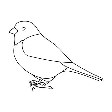 アウトライン スタイルの白い背景で隔離のスズメのアイコン。鳥シンボル ベクトル イラスト。  イラスト・ベクター素材