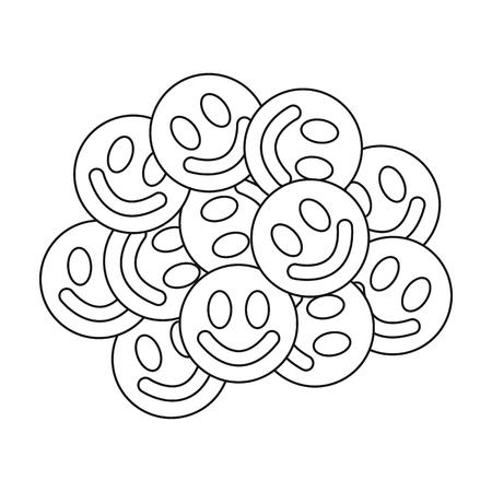 methamphetamine: Ecstasy icon in outline style isolated on white background. Drugs symbol vector illustration. Illustration