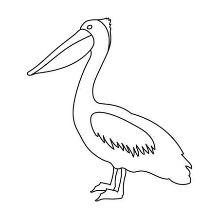 pelican icon in outline style isolated on white background bird