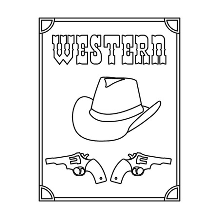 Western movie icon in outline style isolated on white background. Films and cinema symbol vector illustration.