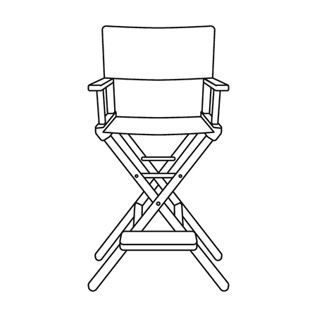Directors chair icon in outline style isolated on white background. Films and cinema symbol vector illustration. Illustration