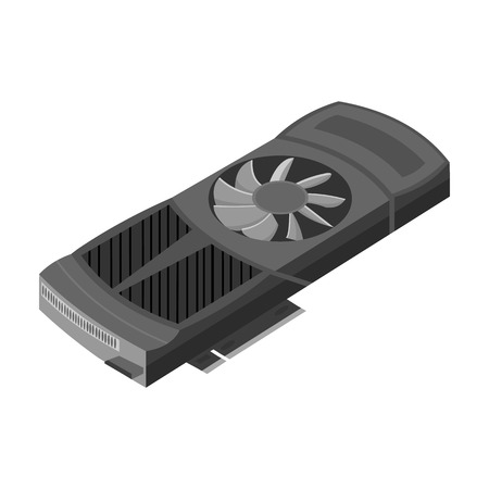 dvi: Video card icon in monochrome style isolated on white background. Personal computer symbol vector illustration.