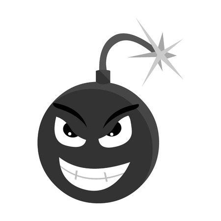 groupe: Bomb virus icon in monochrome style isolated on white background. Personal computer symbol vector illustration.