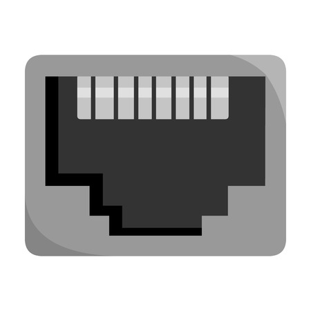LAN port icon in monochrome style isolated on white background. Personal computer symbol vector illustration. Illustration