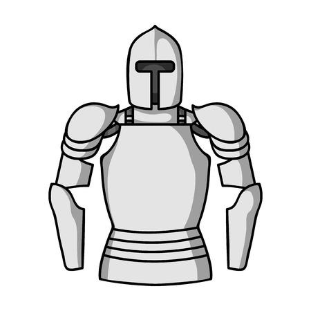 モノクロ スタイル白い背景で隔離のプレート鎧アイコン。博物館シンボル ベクトル イラスト。
