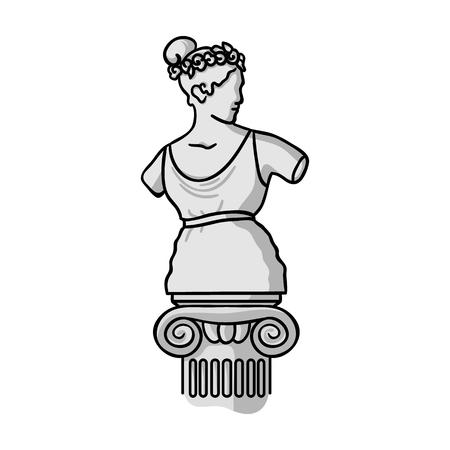 Standbeeld icoon in zwart-wit stijl op een witte achtergrond. Museum symbool vector illustratie.