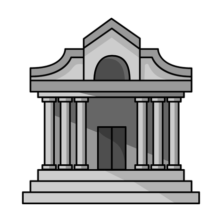 municipal: Museum building icon in monochrome style isolated on white background. Museum symbol vector illustration.