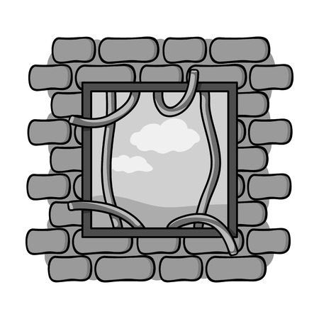law breaker: Prison escape icon in monochrome style isolated on white background. Crime symbol vector illustration.