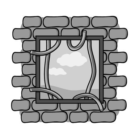 escape from prison: Prison escape icon in monochrome style isolated on white background. Crime symbol vector illustration.