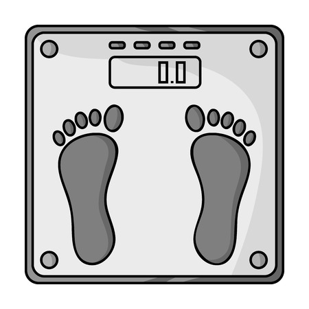 Weighing scale icon in monochrome style isolated on white background. Sport and fitness symbol vector illustration.