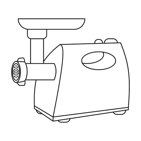 meat grinder: Electical meat grinder icon in outline style isolated on white background. Kitchen symbol vector illustration. Illustration