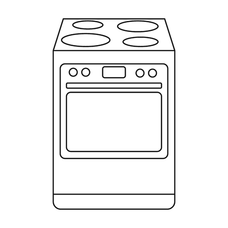 Kitchen stove icon in outline style isolated on white background. Kitchen symbol vector illustration.