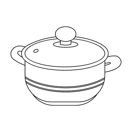 stockpot: Stockpot icon in outline style isolated on white background. Kitchen symbol vector illustration.