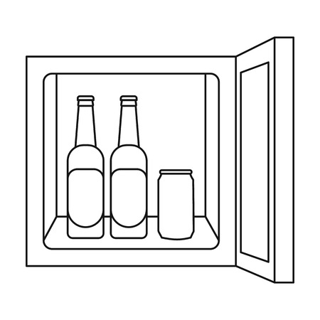 minibar: Mini-bar icon in outline style isolated on white background. Kitchen symbol vector illustration.