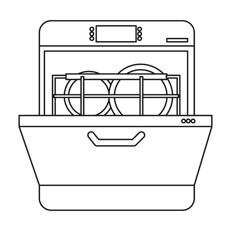 dishwasher clipart black and white. dishwasher icon in outline style isolated on white background. kitchen symbol vector illustration. clipart black and