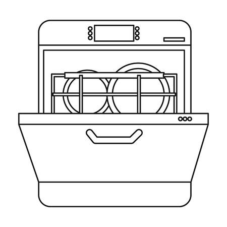 Icono de lavaplatos en el estilo de contorno aislado sobre fondo blanco. Ilustración de vector de símbolo de cocina. Ilustración de vector
