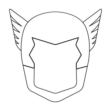 heroic: Superheros helmet icon in outline style isolated on white background. Superheros mask symbol vector illustration. Illustration