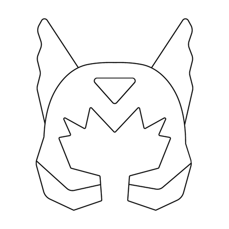 Superheros helmet icon in outline style isolated on white background. Superheros mask symbol vector illustration. Illustration