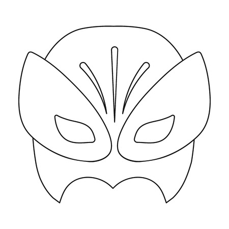 superheros: Full head mask icon in outline style isolated on white background. Superheros mask symbol vector illustration.