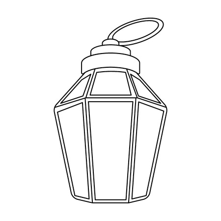 lamp outline: Ramadan lamp icon in outline style isolated on white background. Arab Emirates symbol vector illustration.