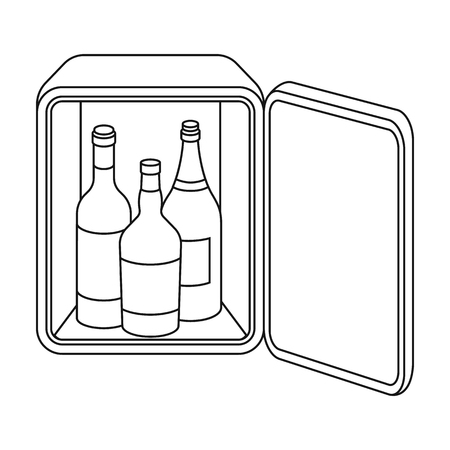 mini bar: Mini-bar icon in outline style isolated on white background. Hotel symbol vector illustration. Illustration