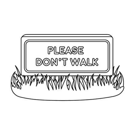 dont walk: Please dont walk icon in outline style isolated on white background. Park symbol vector illustration. Illustration