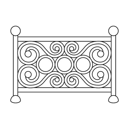 symbol fence: Fence icon in outline style isolated on white background. Park symbol vector illustration.