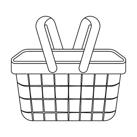 basket icon: Picnic basket icon in outline style isolated on white background. Park symbol vector illustration.