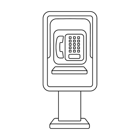 corded: Payphone icon in outline style isolated on white background. Park symbol vector illustration.