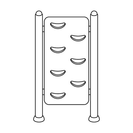 wall bars: Gymnastics wall bars icon in outline style isolated on white background. Park symbol vector illustration.